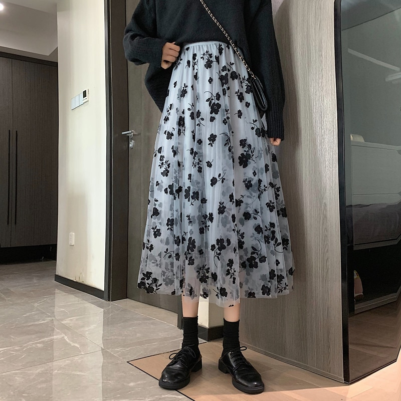 French Style Spring Women Long Chiffon Skirt Elegant Chic Floral Printed Skirts Girl High Waist Summer Mesh Pleated