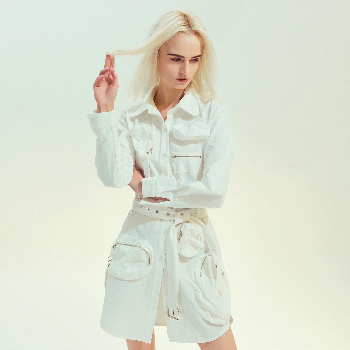 Asymmetric Cargo Dress with Belt Women Solid White 2020 Spring Elegant Pocket Single Breasted Casual Slim Shirt Dress SA210S30