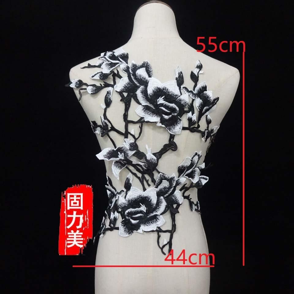 Conjunto 1 2pc delicado de volta amarelo branco azul ouro vermelho flor de Magnólia costura em lace applique patch para Cheongsam