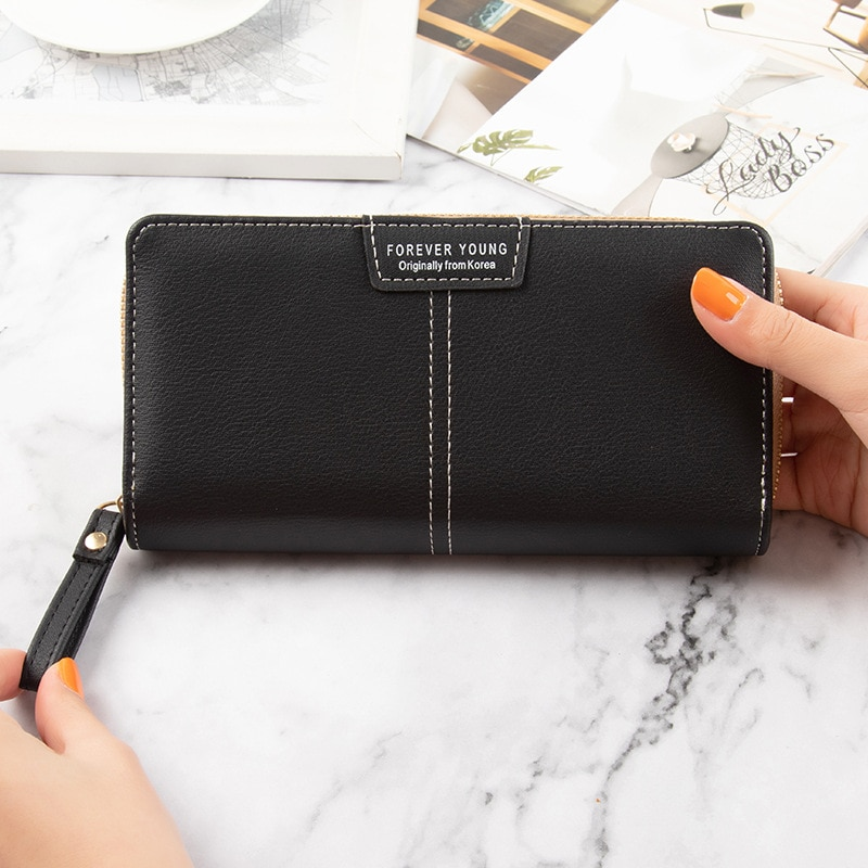 Trend novelty women purse Large Capacity long womens wallets and purses Solid Leather wallets for women 2021 saccoche femme