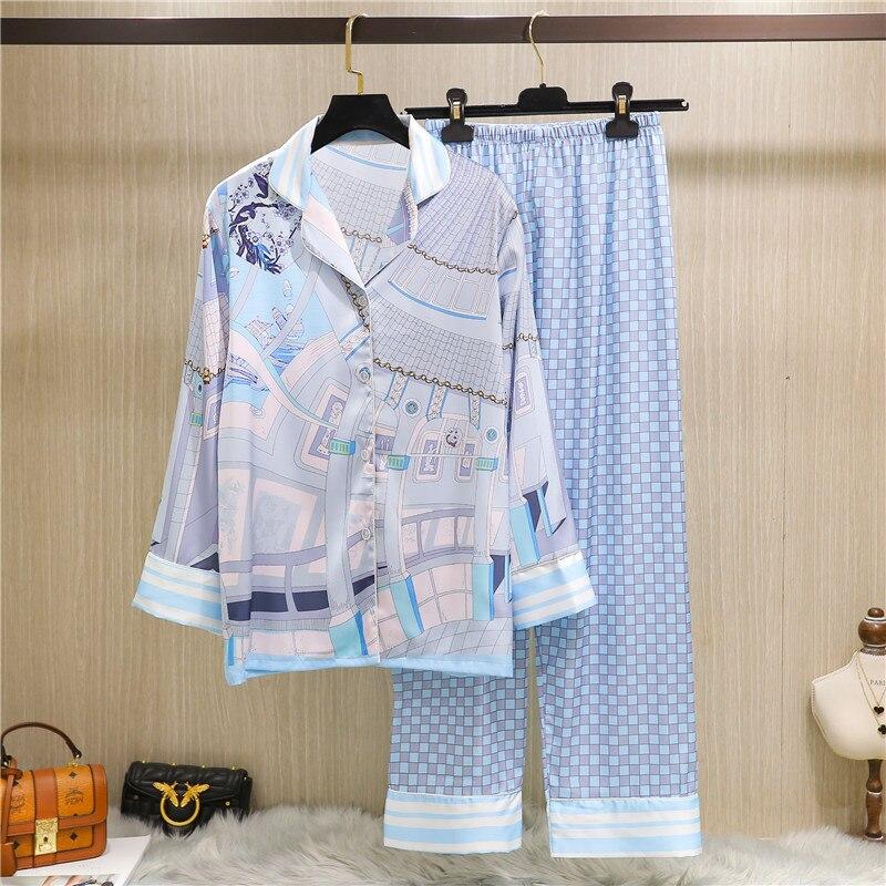 Женщины% 27 Стиль Весна и Осень С длинными рукавами Пижамы Два Костюмы Шелк Дом Халат
