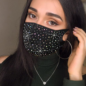 Luxury Jewelry Bling Rhinestone Mask Halloween for Women Fashion Elastic Mask Crystal Decorative Mask Dancer Party