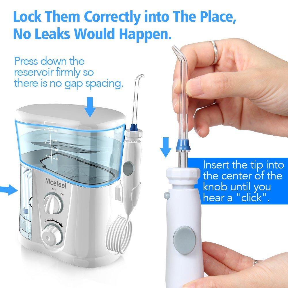 Nicefeel 1000ml Electric Oral Irrigator Teeth Cleaner Care Dental Flosser SPA Water Flosser Toothbrush + 7 Pcs Jet Tips enlarge