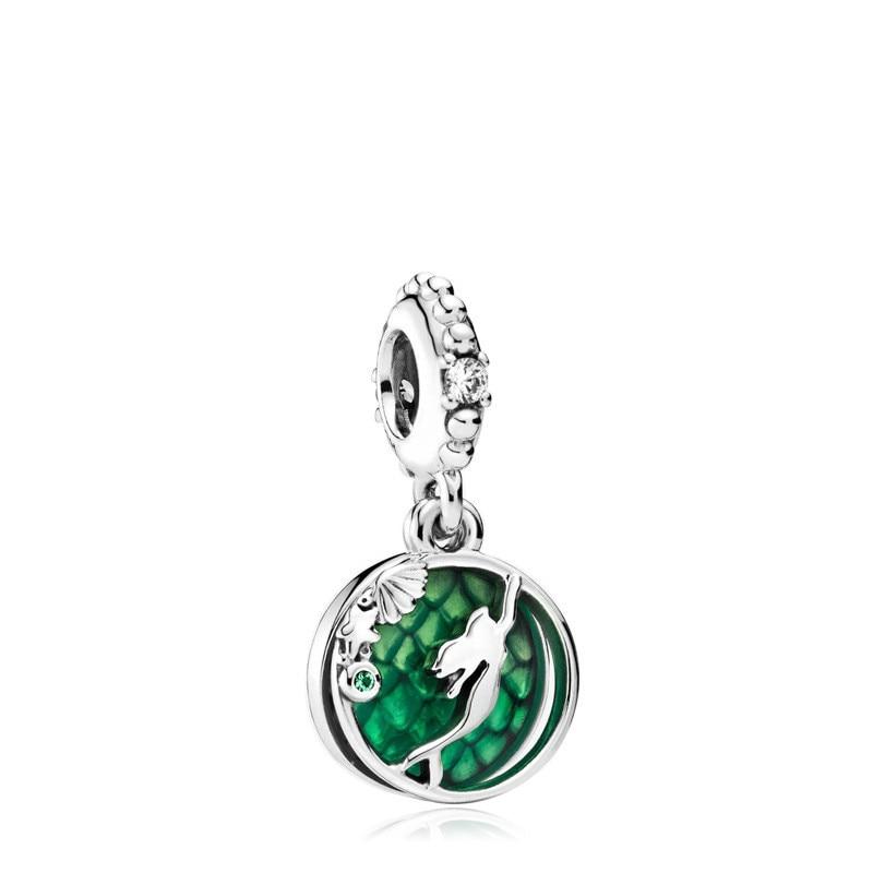 5 uds, colgante de princesa sirena de belleza, Color plata, esmalte verde, encanto hueco, Ajuste Original, pulsera y brazalete, collar, accesorio DIY