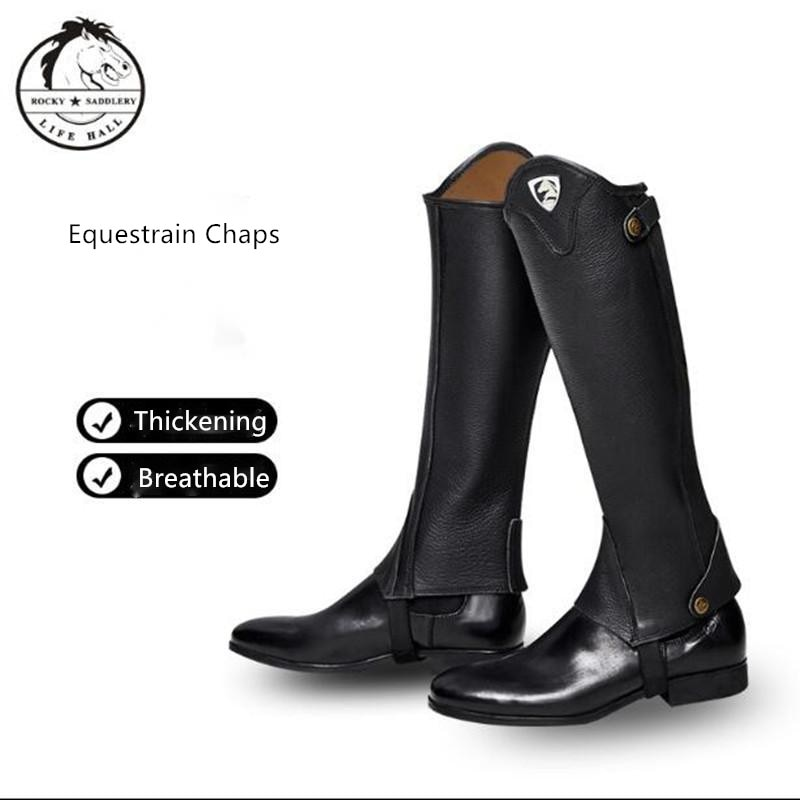 Cavassion Equestrain Equipment Cow Leather Lengthening Chaps for Horse Riding with Lined Micro-Fiber