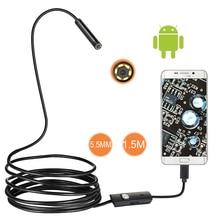 5,5mm 2m Objektiv Endoscop HD 480p USB OTG Schlange Endoskop Wasserdicht Inspektion Rohr Kamera Endoskop für Android telefon Pc