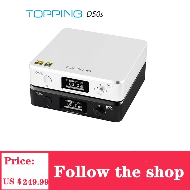 TOPPING-مشغل صوت D50s ، وحدة فك ترميز HIFI ES9038Q2M * 2 DAC ، Bluetooth 5.0 ، LDAC D50 DSD512 ، 32 بت/768 كيلو هرتز ، دقة عالية