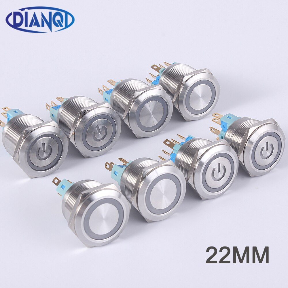 22mm metall wasserdichte edelstahl ring lampe push button schalter 6pin 1NO 1NC momentary taste drücken schalter Rast flache