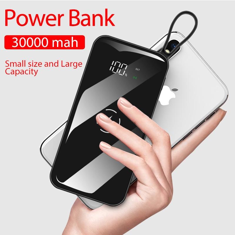 Banco de energía inalámbrico USB Dual 30000 MAh impermeable Pantalla Completa portátil para todo el teléfono de carga rápida batería externa banco de energía