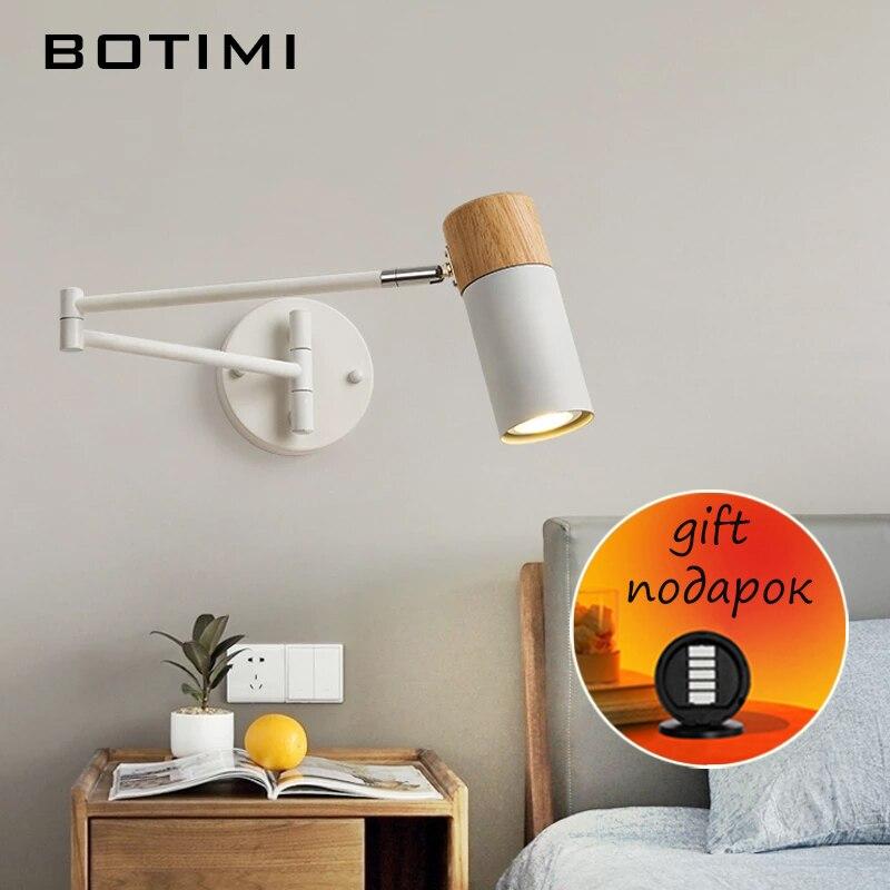 BOTIMI وحدة إضاءة LED جداريّة أضواء لغرفة النوم طويلة أسود قابل للتعديل ضوء السرير الأبيض غرفة الدراسة تركيبات الإضاءة فندق القراءة مصباح