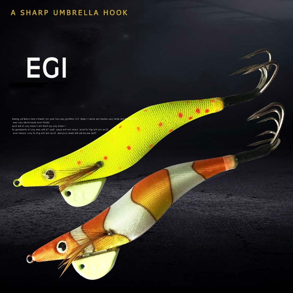 1 Uds., cebo de calamar, anzuelo de pulpo, cebo biónico de madera para Camarón, equipo de pesca, señuelo de pesca señuelo, cebo de pesca en alta mar 34g