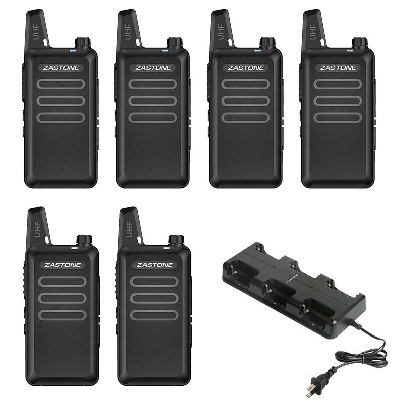 6PCS Zastone X6 Mini Walkie Talkie 400-470 UHF Walkie Talkie Portable Handheld Radio Comunicador Two-Way Ham Radio