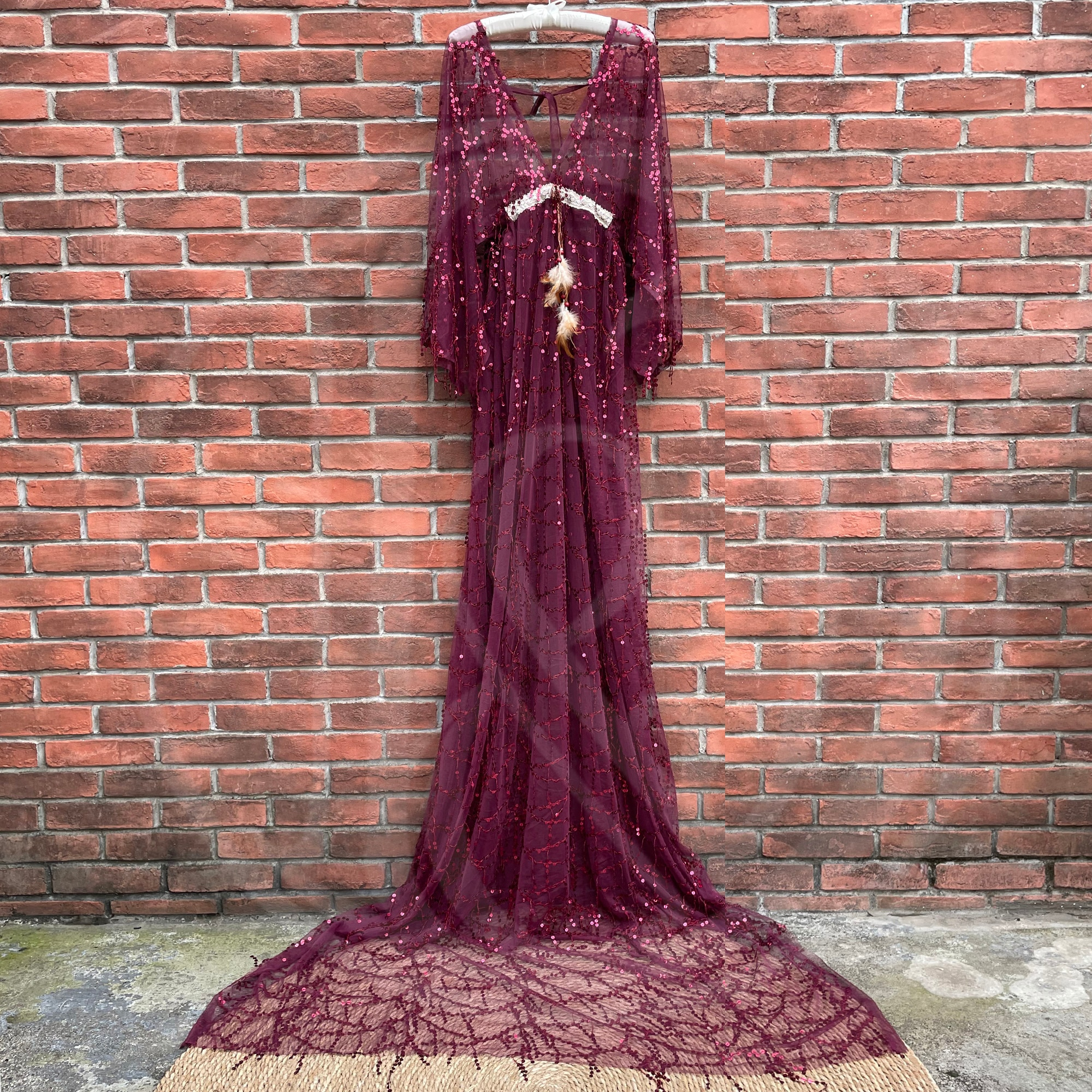 Photo Shoot Sequence Clothing Tassels Frange Maternity Dress Baby Shower Boho Evening Party Gown Women Prom Pregnant Couture enlarge