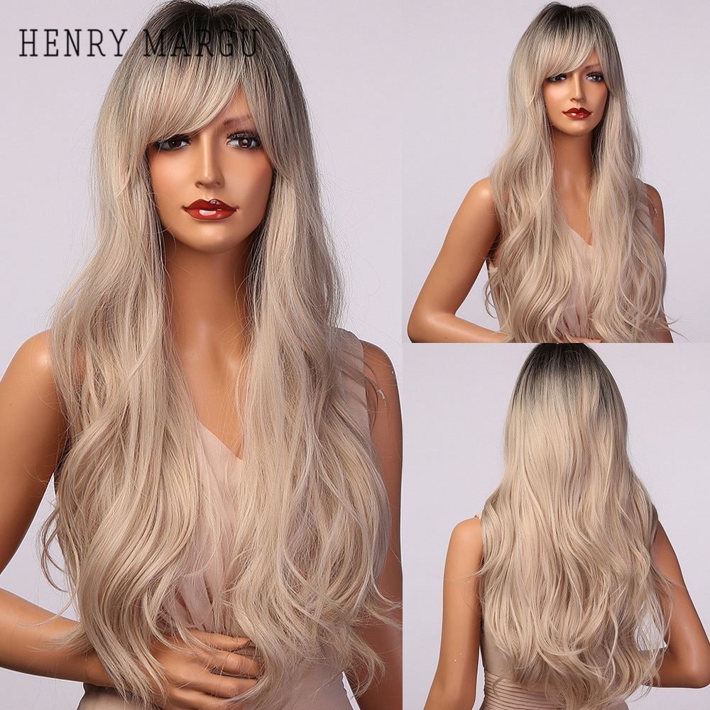 HENRY MARGU Long White Blonde Ombre Synthetic Wigs With Bangs Natural Wavy Wigs for Women Cosplay Daily Hair Wig Heat Resistant