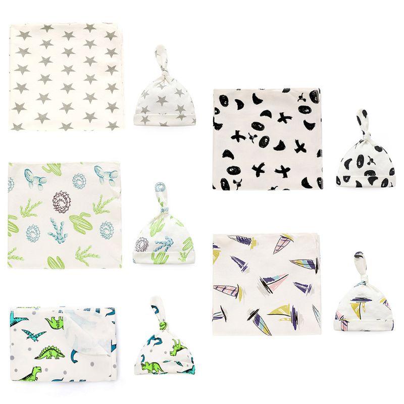 2020 nouveau 2 pièces/ensemble bébé Swaddle couvertures nouveau-né bébé réception enveloppes Beanie sacs de nuit