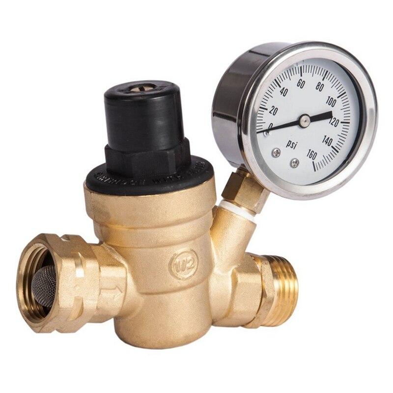 Válvula de Regulador de Pressão de Água. Redutor de Pressão de Água Ajustável sem Chumbo com Calibre para rv Campista M11-0660r br