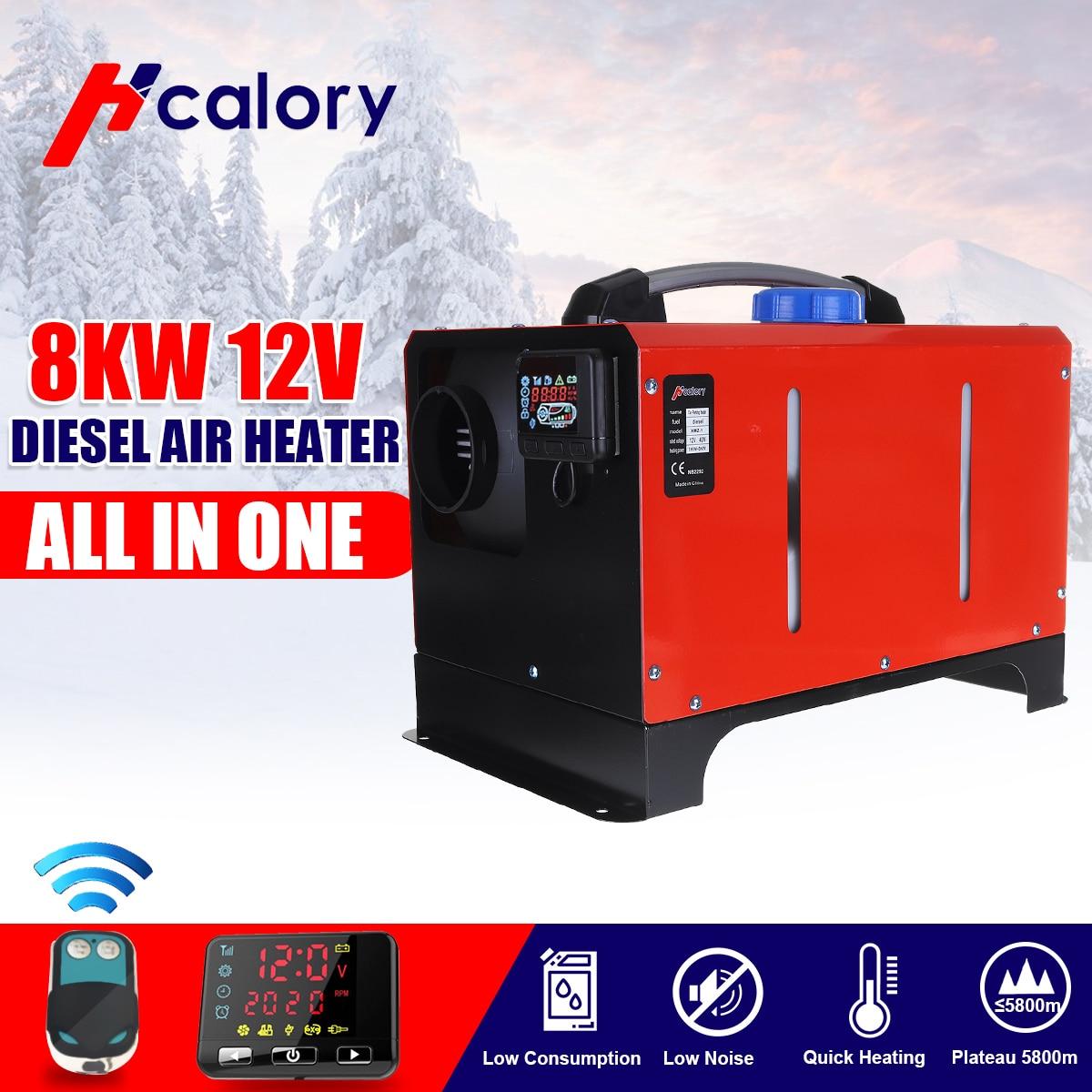 Todo en una unidad 1-8KW 12/24V herramienta de calefacción de coche Diesel calentador de aire de un solo agujero LCD Monitor de estacionamiento calentador para coche camión autobús barco RV
