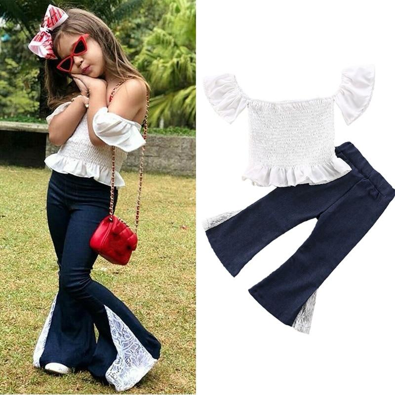 1-6Y Toddler Kids Girls Summer Clothes Sets Outfits Off Shoulder Crop Top T-shirt+ Lace Denim Flare Pants Clothes