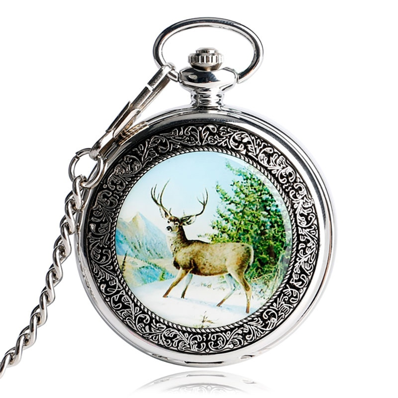 Retro Elk Design Steampunk Hand Winding Mechanical Pocket Watch for Mens Womens Full Hunter Clock with Fob Chain Roman Number