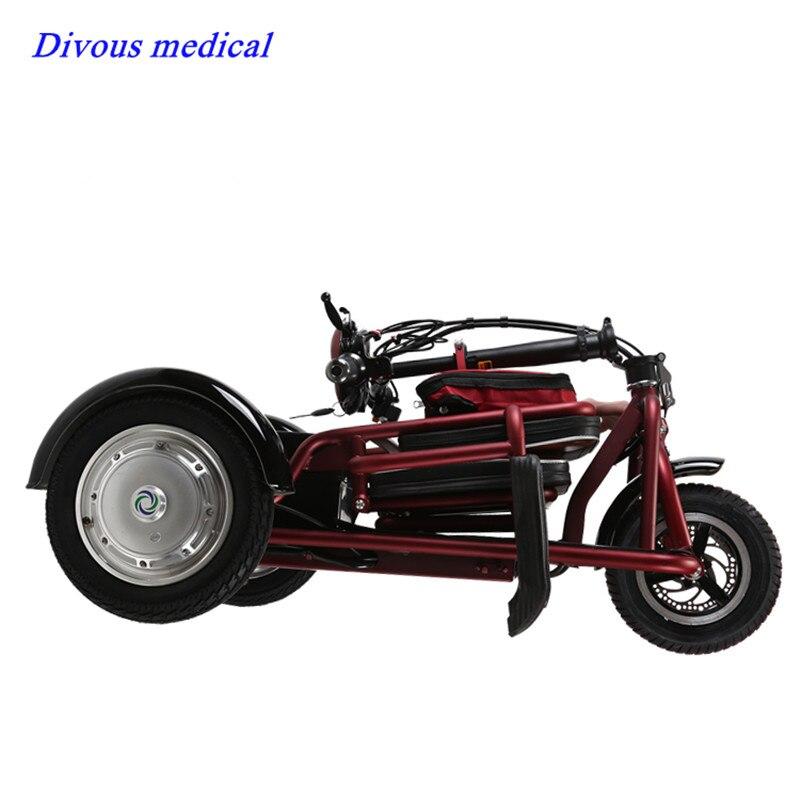 Ultraligero 3 ruedas motocicleta plegable Velocidad máxima 15 km/h scooter Eléctrico para mayores o deshabilitar