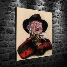 Freddy Krueger-affiche de film 1 panneau   Peinture sur toile HD, toile abstraite, décoration murale, Art, pour bureau, maison