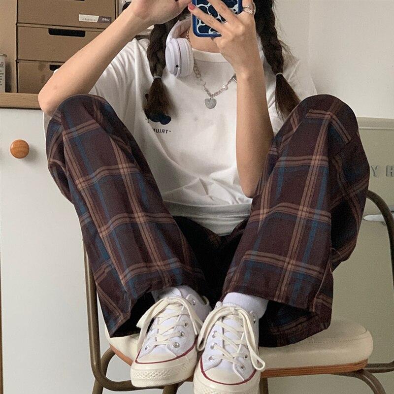 INS Super Popular Plaid Sports Wide-Leg Pants Women's Spring and Summer Korean Style High Waist Stud
