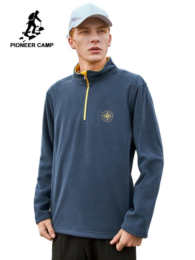 Pioneer camp jaqueta masculina velo quente sportwear gola mandarim cor sólida preto cinza hoodies casaco dos homens ajk908380