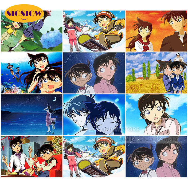 5d Diamond Painting Detective Conan Rachel Couples Full Square Daimond Mosaic Embroidery Cartoon Poster Cross-Stitch Love Gifts