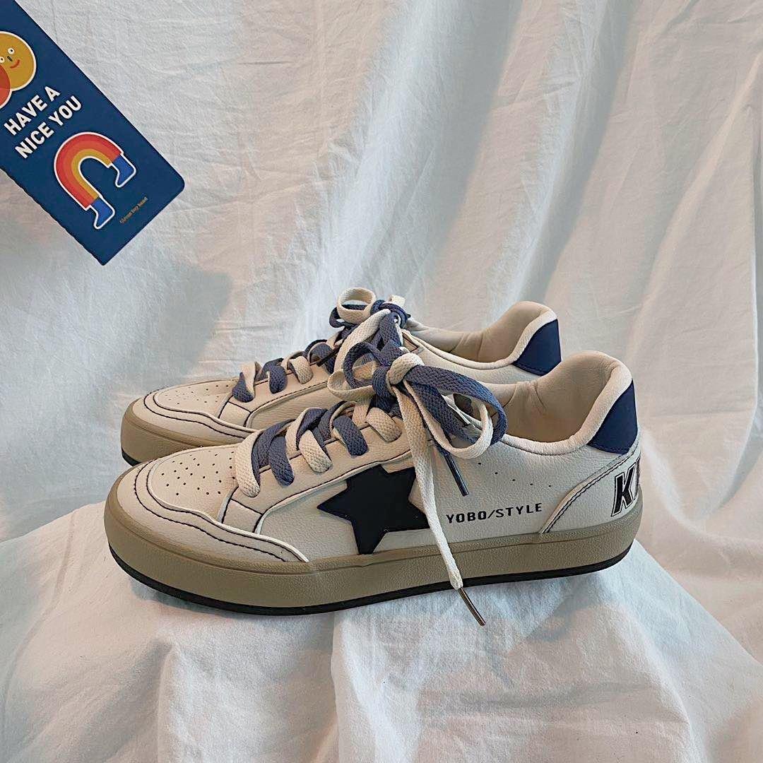 Zapatillas de lona de cuero ulzzang para mujer, zapatos informales de suela...