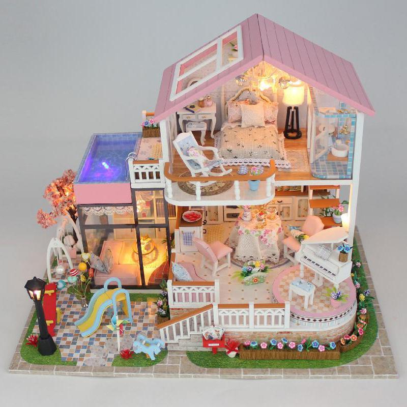 Casa de DIY para muñecas, casa de conversación dulce, rompecabezas, modelo hecho a mano, casa DIY, decoración creativa, casa de muñecas, regalo del Día de San Valentín