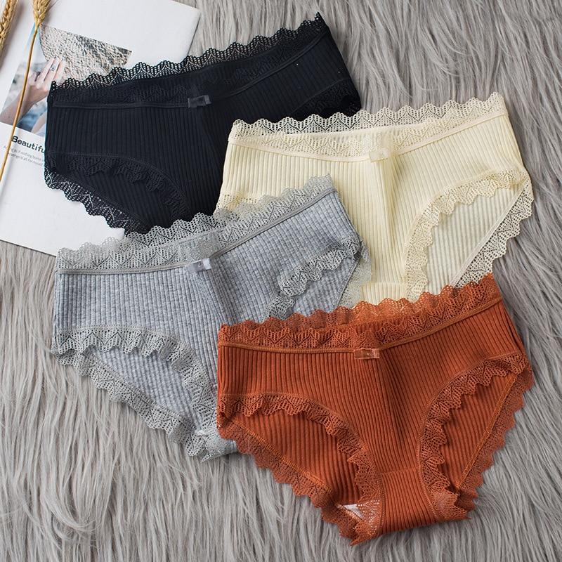 3 قطعة/الوحدة القطن سراويل النساء الملابس الداخلية مريحة مثير منتصف مخصر السروال الإناث الملابس الداخلية كبيرة الحجم السيدات ملخصات