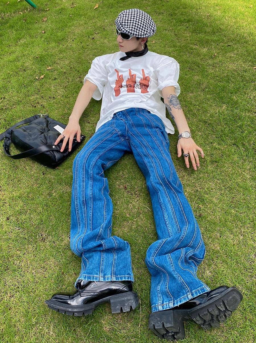 Korean fashion men's flared jeans 2021 new trousers men's high waist irregular diagonal placket jeans