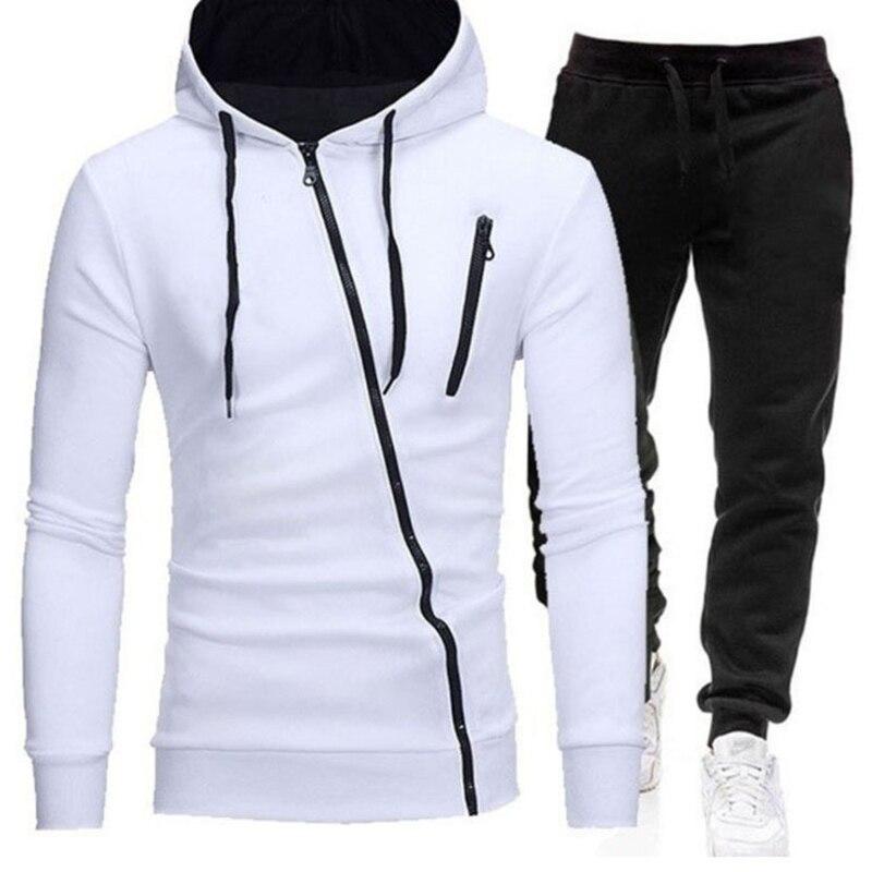 Костюм спортивный мужской однотонный повседневный, кофта с капюшоном на молнии с наклонной застежкой и спортивные штаны, комплект одежды