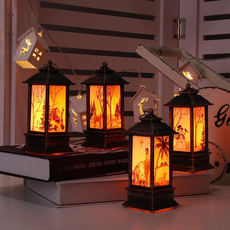 Luzes de natal ao ar livre lâmpada de mesa led pintado lâmpada candlestick luzes da noite do vintage luz santa boneco neve elk lâmpada assoalho jesus