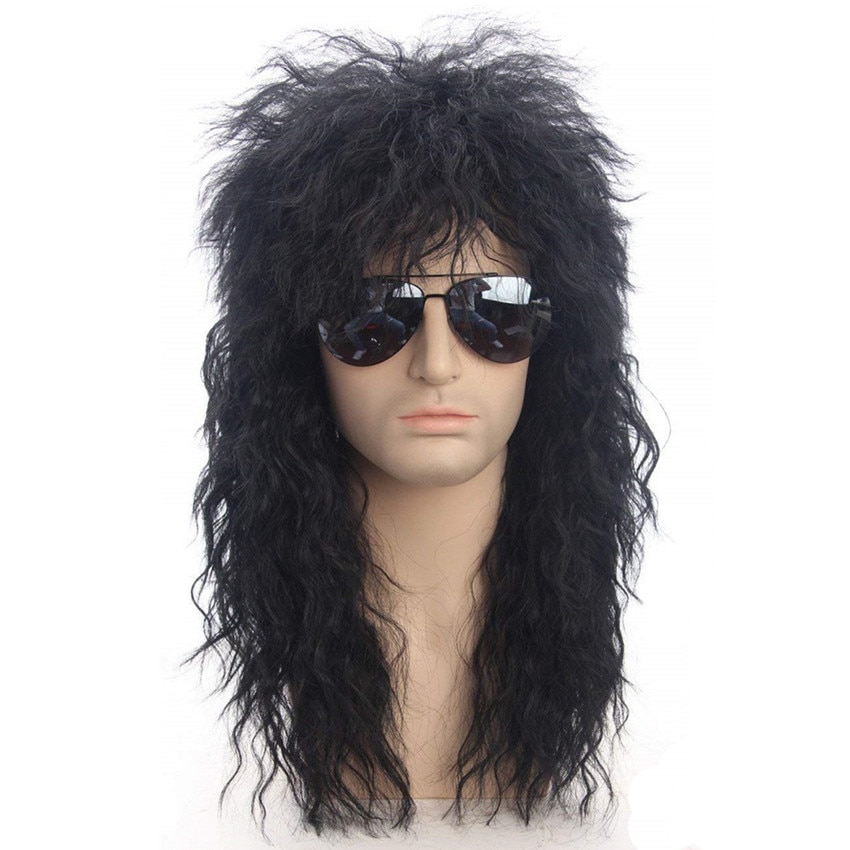 Gres Men Long Synthetic Hair Extension Wig Black Color Female Hairpiece Punk Puffy Headgear for Halloween High Temperature Fiber