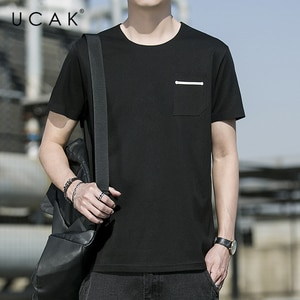 UCAK Brand Classic O-Neck Pocket Short Sleeve T-Shirts Summer Fashion Style New Streetwear Tops Casual Silk T Shirt Homme U5504