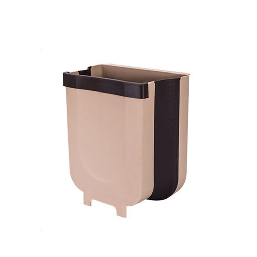 Caixa de lixo dobrável porta do armário de cozinha pendurado lata de lixo 8l montado na parede dobrável cesta de lixo do carro pode casa