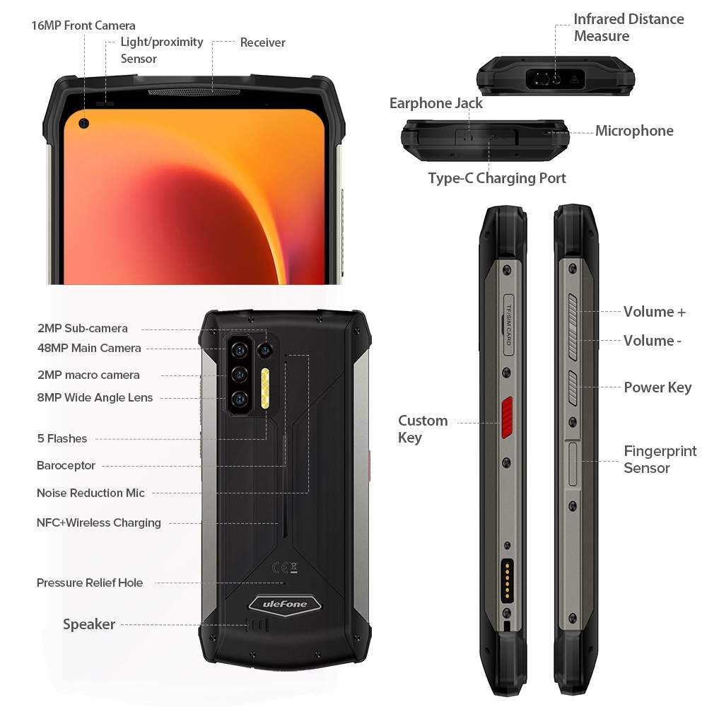 Ulefone Power Armor 13 Smartphone Android 11 8G+256G Cellphone IP68 Waterproof Rugged Mobile Phones 13200mAh Global Version NFC enlarge
