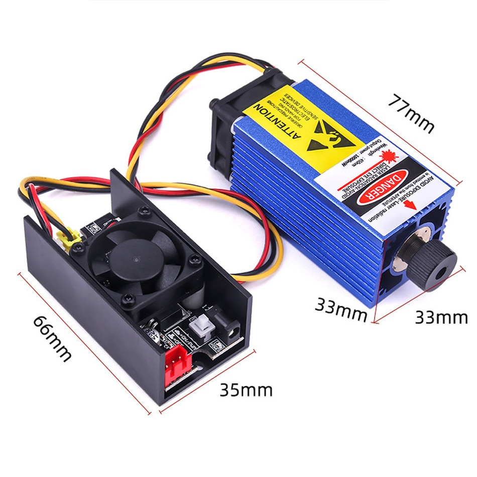 10w Laser Module 450NM DC 12V 1A-3A TTL PWM CNC Engraving Machine Accessories for engraved plastic, wood, acrylic, pvc, pcb enlarge