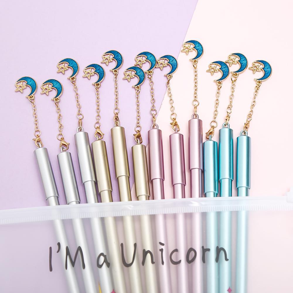 12 unids/pack Vintage divertido Cool Luna estrella bolígrafos de Gel colgante Retro cielo espacio creativo papelería escuela Kawai boda bolso del lápiz