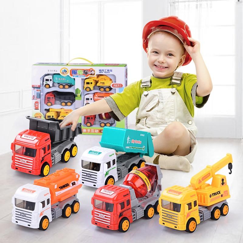 6pcs Baby Toy Cars Kit Pull Back Car Inertia Car Children Excavator Construction City Engineering Vehicle Excavator Set Boy Gift