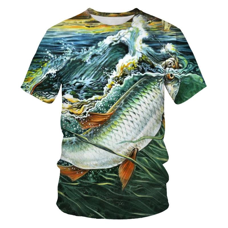 Мужские и женские футболки с рисунком океанской рыбы Harajuku, однотонные футболки с 3D принтом, мужские футболки для рыбалки