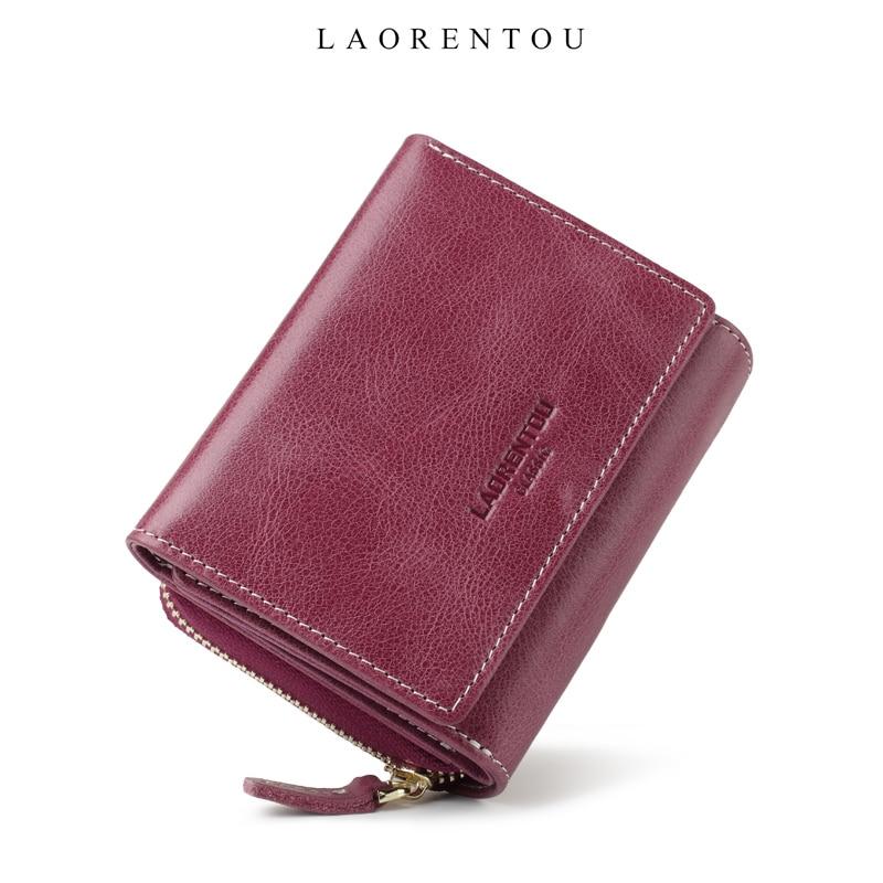 Женский мини-кошелек LAORENTOU из натуральной кожи в стиле ретро, вместительный кошелек с отделением для карт, женская сумка для денег, Женский чехол на молнии для монет, короткий кошелек