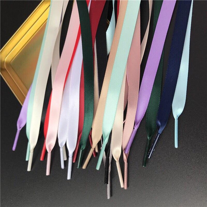 1 par de 1CM de ancho zapato satinado cordones de seda de la cinta de los cordones de los zapatos zapatillas de deporte cordón 15 colores longitud 80CM 100CM 120CM 150CM S2