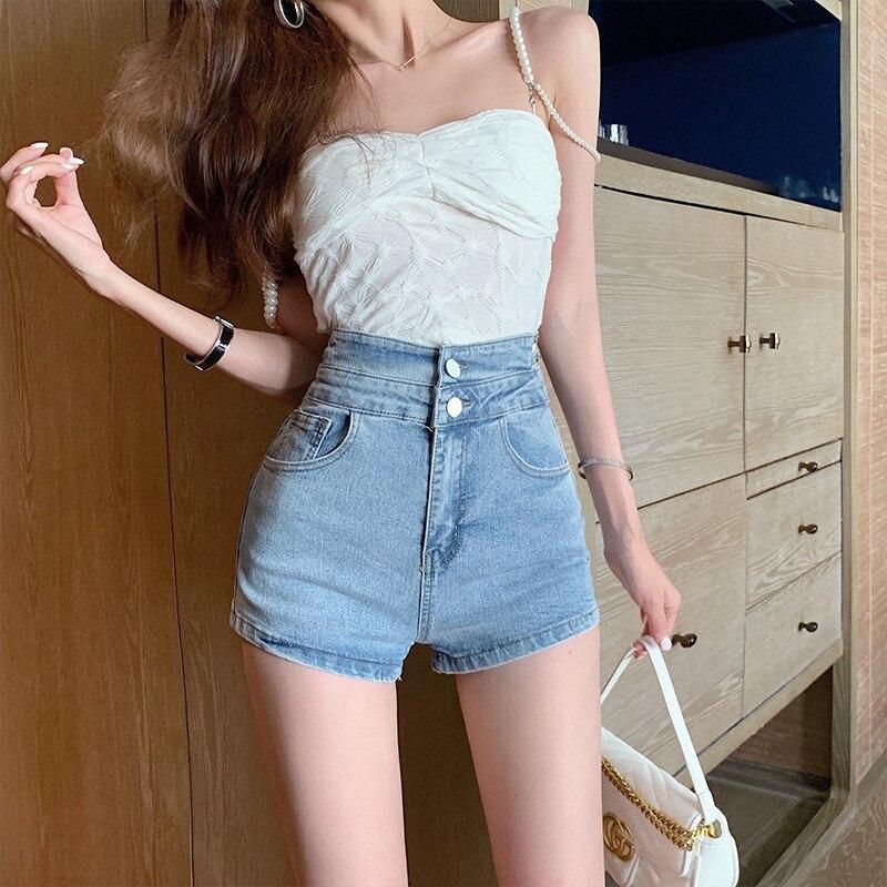 2021 Women's High Waist Stretch Jeans Summer Fashion Denim Shorts Casual Slim Vintage Crimping Denim Shorts