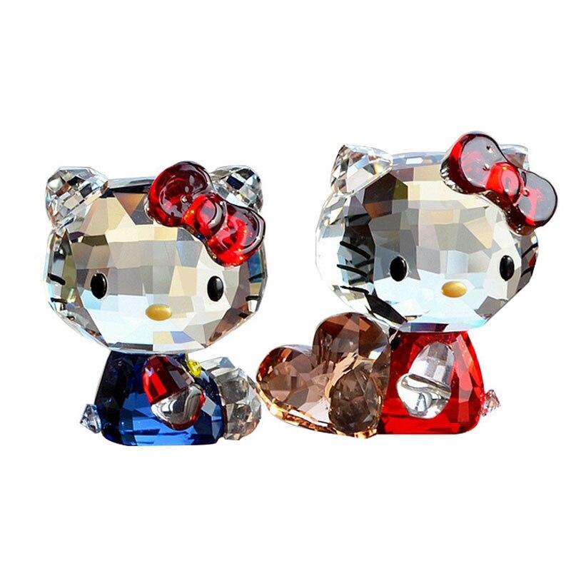 Estatuetas de cristal requintado dos desenhos animados do gato estatuetas helloo kitty carro ornamento boa sorte gato presente de casamento interior casa decoração da mesa