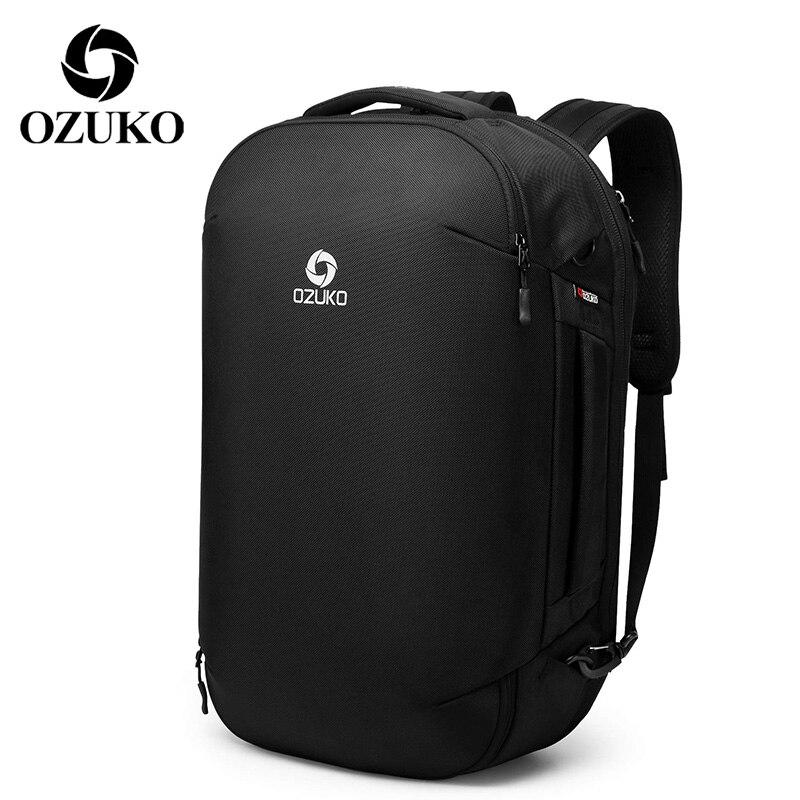 Mochila de viaje para exteriores OZUKO, mochila para ordenador portátil de 15,6 pulgadas, mochila escolar de gran capacidad, bolsas impermeables para hombres con bolsa para zapatos
