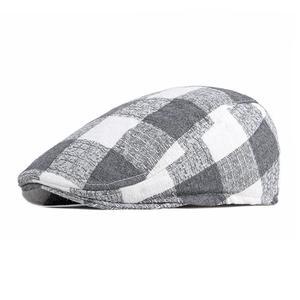2021 Cotton four seasons patchwork plaid Newsboy Caps Flat Peaked Cap Men and Women Painter Beret Hats 129