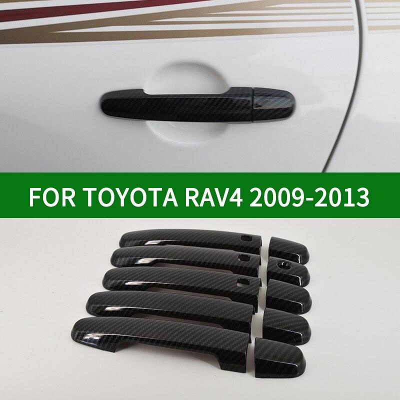 Para 2009-2013 TOYOTA RAV4 2.4A 1.8A 2,0 de cinco puertas de fibra de carbono patrón cubierta de manija de puerta de coche de 2010 de 2011 a 2012