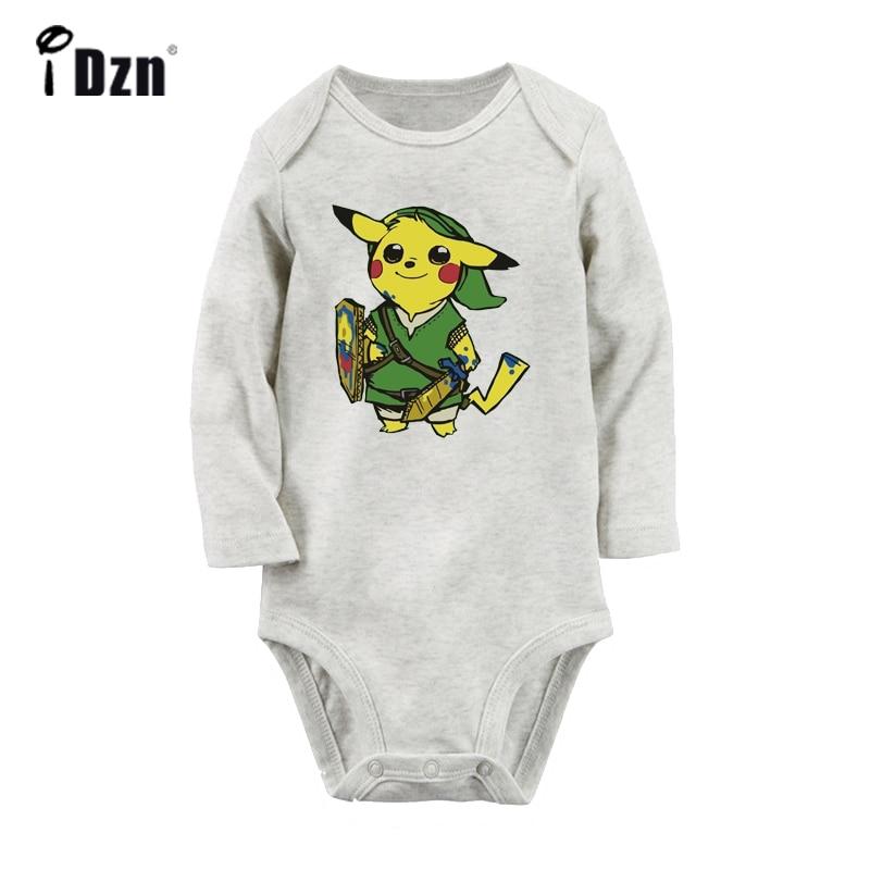 Lindo Pikachu Link Pokemon Zelda PikaLink Príncipe Rogers Nelson estrella impresa recién nacido trajes de bebé de manga larga mono 100% de algodón